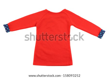 Red t-shirt with blue cuffs. Isolated on a white background.