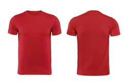 Red T-shirts front and back used as design template isolated on white with clipping path