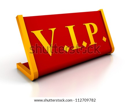 Red Table Plate Sign of VIP on white background
