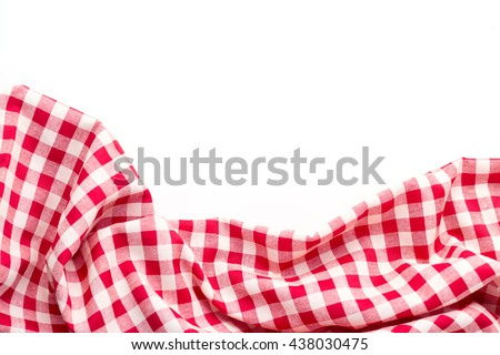 red tablecloth on white background,crumpled tablecloth on white background Stock photo ©