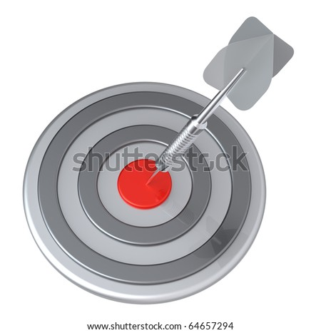 Red target and silver dart close-up isolated on white background. Computer generated 3D photo rendering.