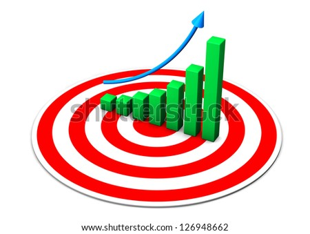 Red target with green chart on the white background.