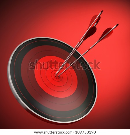 red target with three arrows hitting the bull's eye, red background with light effect, square image.