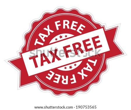 Red Tax Free Stamp, Label, Sticker, Icon or Badge Isolated on White Background Stock photo ©