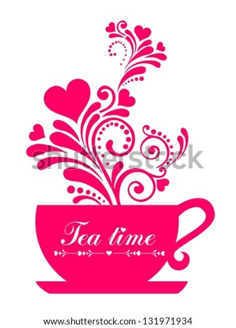 Red Tea. Cup with floral design elements  isolated on White background.  illustration