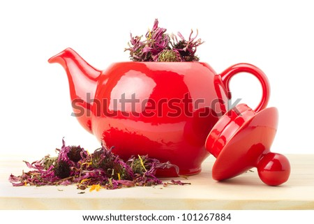 red teapot with healing herb - echinacea, alternative medicine