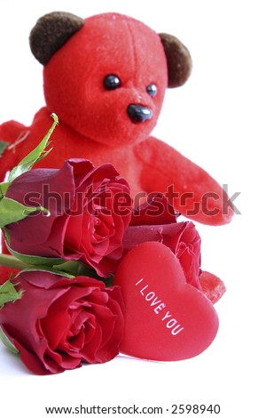 i love you hearts and roses. roses and message on heart