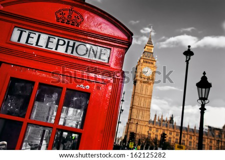red telephone booth and big ben ...
