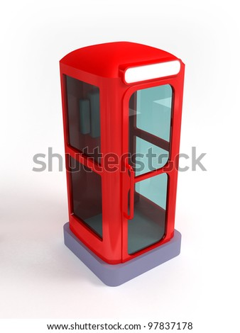 Red telephone booth in retro or future style on white background