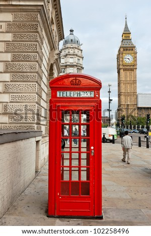 Red telephone box and Big Ben. London, England