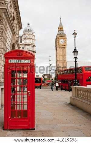 Red telephone box, double decker bus and Big Ben. London, UK - stock photo