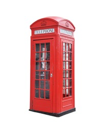 Red telephone box isolated on a white background