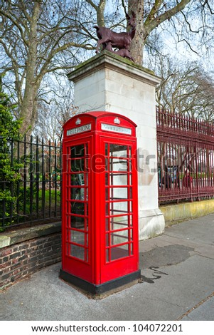 Red telephone box near kensington garden, london, Uk.