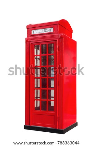 red telephone box on white backgroun