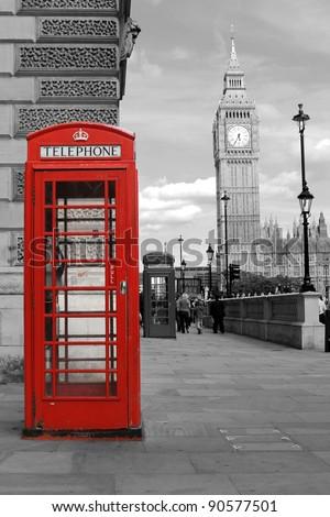 red  telephone in London, Big Ben