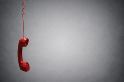 Red telephone receiver with copy space
