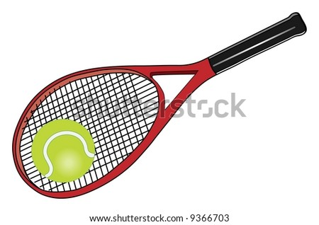 Red tennis racket and green tennis ball