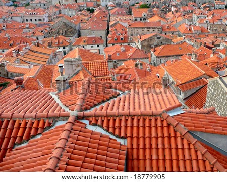 Red terracotta tiled rooftops of old town Dubrovnik, Croatia.