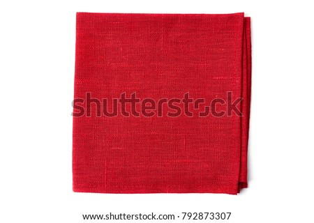 Red textile napkin on white