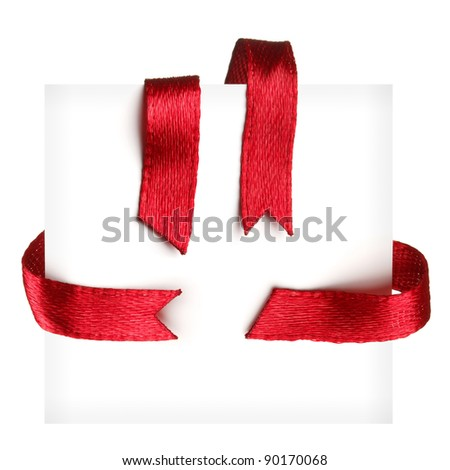 Red textile ribbons set