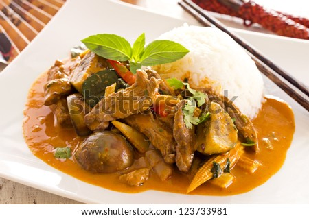 red thai curry with beef and vegetables