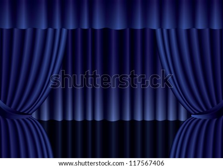Red theater curtain with spotlight on stage, illustration