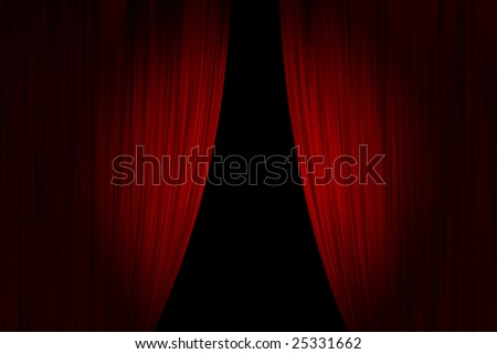 Red theater curtains opened