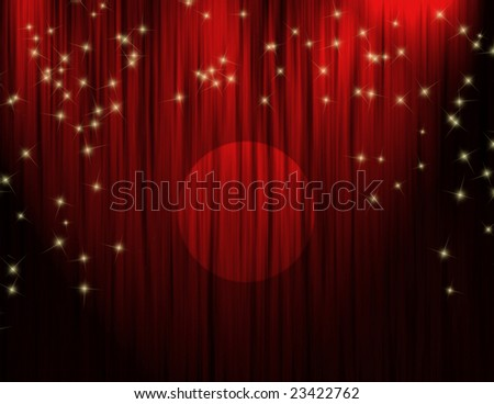 Red theater curtains with dramatic stage lighting, sparkling stars and spotlight