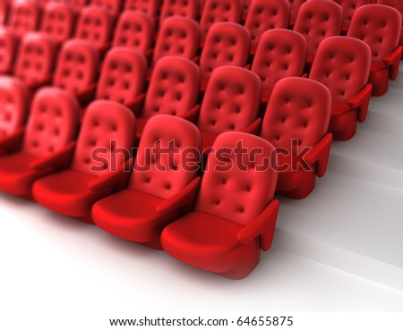Red theater seats. 3D render