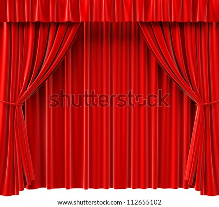 red theatrical curtain. 3d image. - stock photo