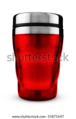 Red thermic mug isolated on white, Clipping path included.