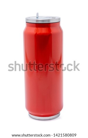 Red thermos bottle or Stainless steel thermos travel tumbler, Insulated drink container for coffee, tea, water flask reusable bottle container, isolated on white background. #1421580809