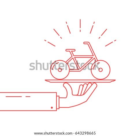 red thin line hand holding bicycle on dish