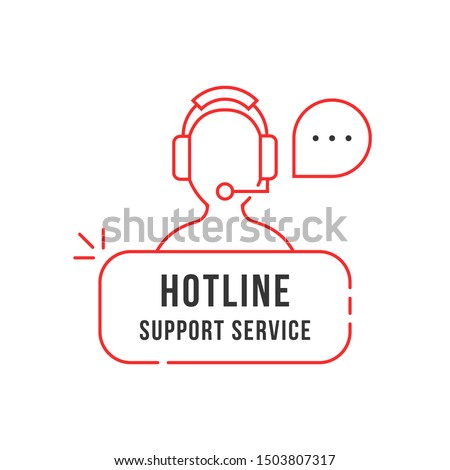 red thin line hotline support service logo. simple linear flat style trend crm logotype graphic banner design isolated on white background. 24 7 help contact for client by adviser or counselor concept
