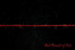 red thread of fate. invisible thread of love on the space background