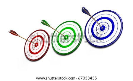 red, three green and blue targets over a white background each target receive an arrow of the same color