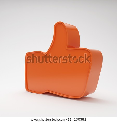 red thumbs up symbol on grey background with highlights