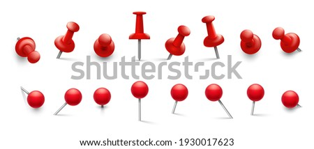 Red thumbtack. Push pins in different angles for attachment. Pushpins with metal needle and red head isolated set Foto d'archivio ©