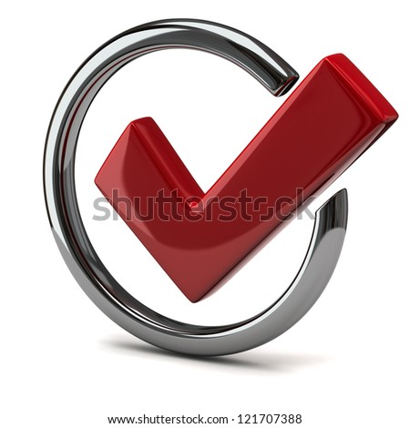 Red tick sign icon 3d