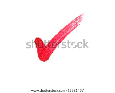 Red tick sign isolated on white background.