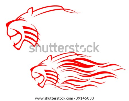 red tiger head sign isolated on