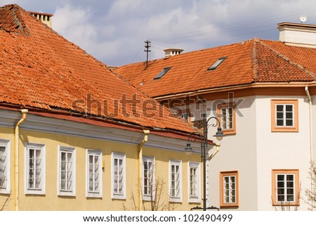 Red tile roof of Vilnius Old Town buildings