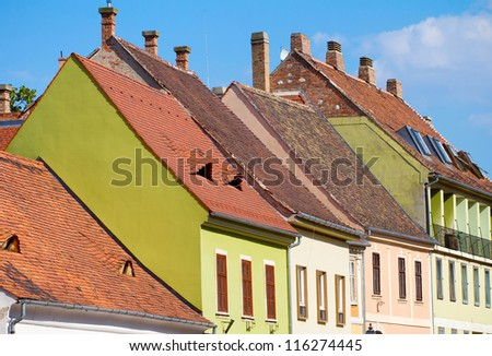 Red tiled roof of Budapest Old Town buildings