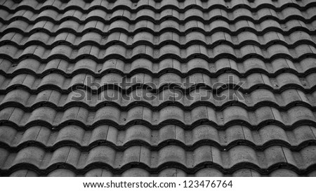 Red tiles roof background,Black and white.