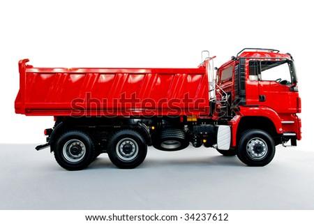 Red tipper dump truck for construction work