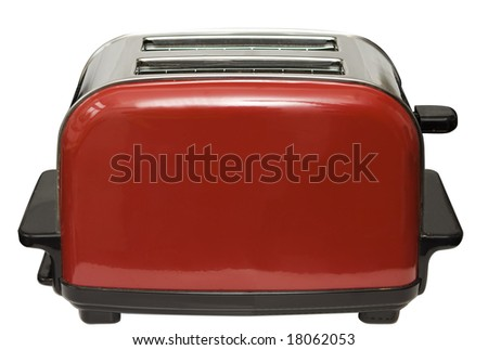 Red toaster isolated on white with clipping path