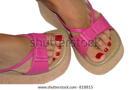 toenails and pink sandals stock photo 818815