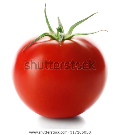 Red tomato isolated on white #317185058
