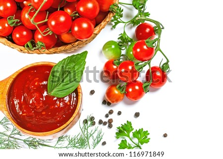 Red tomato sauce in a wooden spoon and ingredients, isolated in white #116971849