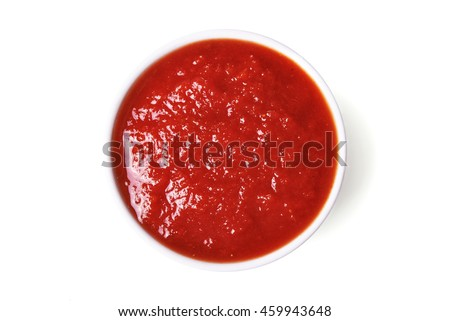 red tomato sauce isolated on white background/ top view #459943648